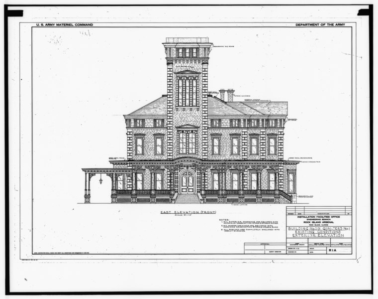 File:Photograph of line drawing in possession of Engineering Plans and Services Division, Rock Island Arsenal. EAST ELEVATION, UNDATED. - Rock Island Arsenal, Building No. 1, HABS ILL,81-ROCIL,3-1-32.tif