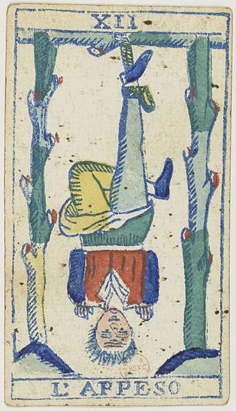File:Piedmontese tarot deck - Solesio - 1865 - Trump - 12 - The Hanged Man.jpg