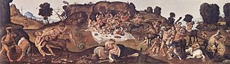 Lapiths - Battle of Centaurs and Lapiths, by Piero di Cosimo (notice the female centaur with a male centaur in the foreground).