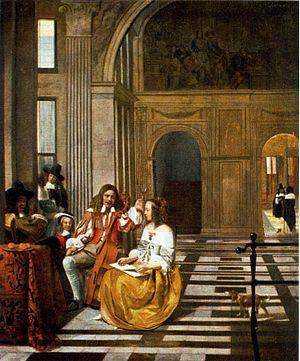Musical Party in a Hall - Image: Pieter de Hooch Company Making Music WGA11711