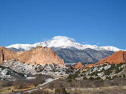 Pikes Peak from the Garden of the Gods in Colorado Springs