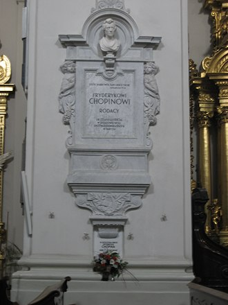Holy Cross Church, Warsaw - Pillar containing Chopin's heart (just above the bouquet near bottom)