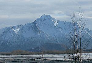 Pioneer Peak (Alaska) - Looking south at Pioneer Peak, as seen from the east of Palmer, Alaska.