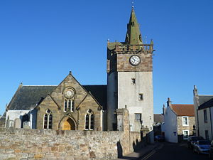Pittenweem witches - Pittenweem Parish Church and Tolbooth where some of the accused witches were held and tortured