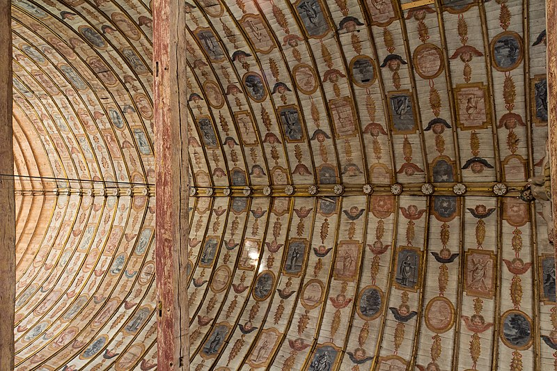File plafond peint de la nef de l 39 glise saint denis pierrefitte en auge - Plafond a la francaise ...