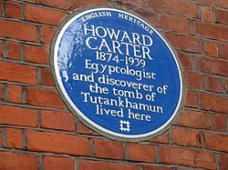 Photo of Howard Carter blue plaque