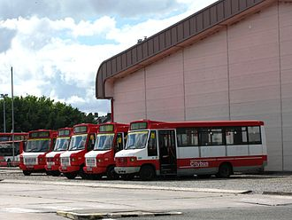 Plymouth Citybus - Mercedes-Benz minibuses parked outside the depot at Milehouse