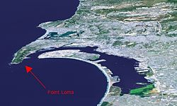 The Point Loma peninsula at left
