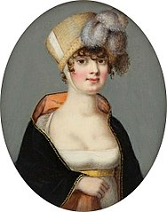 Miniature of a lady in a poke bonnet.
