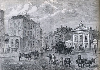 Somers Town, London - Clarendon Square, with The Polygon on left and St Aloysius Chapel on right (1850 engraving by Joseph Swain from an earlier sketch)