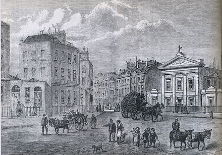 The Polygon (at left) in Somers Town, London, between Camden Town and St Pancras, where Mary Godwin was born and spent her earliest years Polygon.jpg