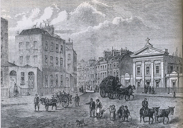 Clarendon Square, with The Polygon on left and St Aloysius Chapel on right (1850 engraving by Joseph Swain from an earlier sketch) Polygon.jpg