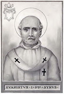 Pope Evaristus 5th Pope of the Catholic Church from c. 99 to c. 107