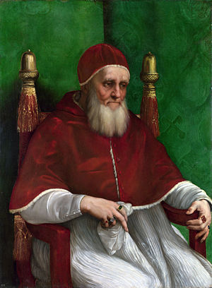 War of the League of Cambrai - Pope Julius II, painted by Raphael (oil on wood, c. 1511). Julius attempted to secure Papal authority in Italy by creating the League of Cambrai, an alliance aimed at curbing Venetian power.