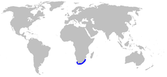 World map with blue shading along the coast of South Africa