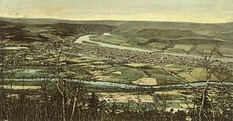 Lock Haven, Pennsylvania -  Bird's-eye view from a postcard sent in 1911. Bald Eagle Creek is in the foreground and the West Branch Susquehanna River is in the background.