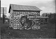 Posters covering a building near Lynchburg to advertise a Downie Bros. circus LOC 3548858861.jpg