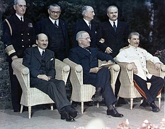 Potsdam Conference - Sitting (from left): Clement Attlee, Harry S. Truman, Joseph Stalin, and behind: Fleet Admiral William Daniel Leahy, Foreign Secretary Ernest Bevin, Secretary of State James F. Byrnes, and Foreign Minister Vyacheslav Molotov