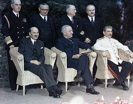 Clement Attlee, Harry Truman and Joseph Stalin at the Potsdam Conference, circa 28 July - 1 August 1945 Potsdam conference 1945-8.jpg