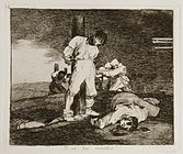 A blindfolded prisoner is tied to a stake, about to be shot by a firing squad. Another man lies dead nearby; in the distance, several prisoners are blindfolded and tied to stakes; they have all been shot and killed by firing squads.