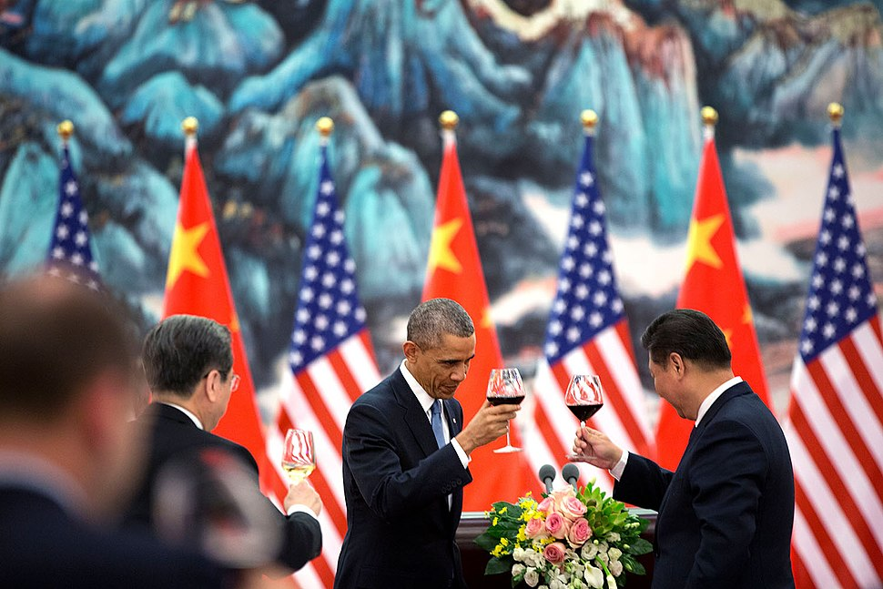 President Barack Obama offers a toast to President Xi Jinping of China during a State Banquet at the Great Hall of People in Beijing, China, Nov. 12, 2014