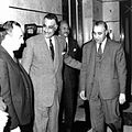 President Gamal Abdul Nasser with Baath Party founders Michel Aflaq and Salah al-Bitar in 1958.jpg