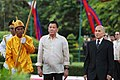 President Rodrigo Roa Duterte is welcomed by the King of Cambodia Norodom Sihamoni upon his arrival at the Royal Palace in Cambodia.jpg