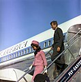 President and Mrs Kennedy deplane from Air Force One (3083217259).jpg