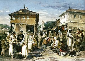 Râmnicu Vâlcea - A market in Râmnicu Vâlcea, 1869 watercolor by Amedeo Preziosi