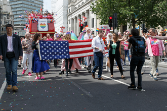London Live (TV channel) - A London Live reporter interviewing Matthew Barzun during the parade at Pride in London 2016