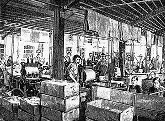 Transfer printing - The transfer printing department of earthenware factory, Societe Ceramique, Maastricht.