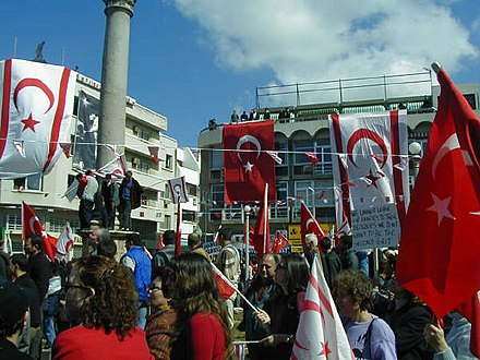 Ataturk Square, North Nicosia in 2006, with the Northern Cyprus and Turkish flags. Pro-TRNC demonstration in Sarayonu North Nicosia.jpg