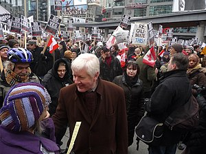 Bob Rae - Rae attending a protest in Toronto Centre