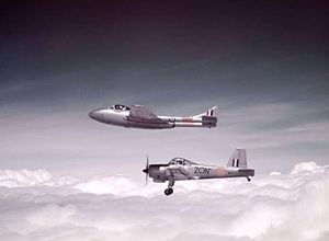Provost T1 and Vampire T11 of 5 Flying Training School 1954.jpg