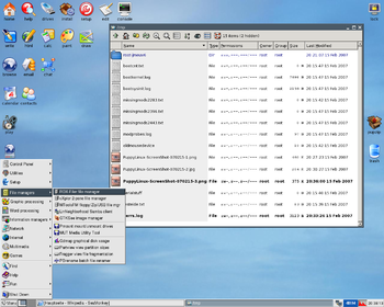 Desktop and ROX-File-Manager runnig under Pupp...