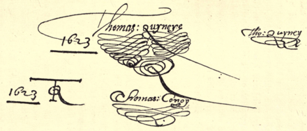 "Facsimile of Quiney's signature ""with flourishes"" from the accounts of 1622-23. Quiney Flourish.png"