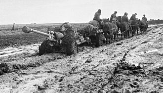 Battle of Rzhev, Summer 1942 - Red Army artillery being redeployed through the mud, October 1942