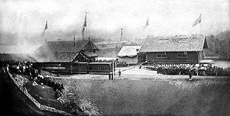Carl Abraham Pihl - Photograph taken by Pihl of the opening of Randsfjordbanen in 1868