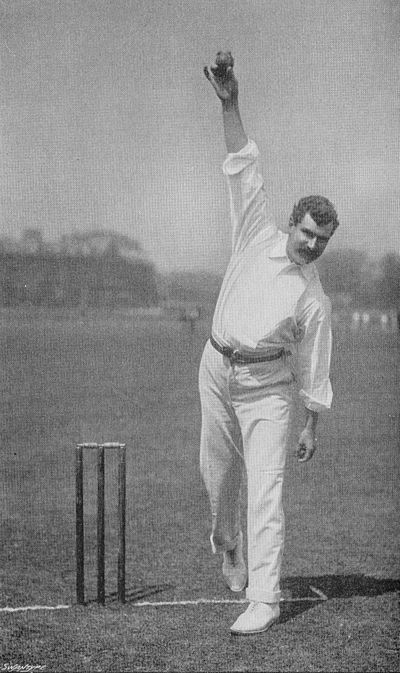 Ranji 1897 page 076 Richardson in the act of delivery.jpg