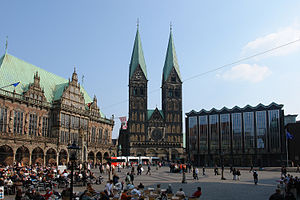 Bremer Marktplatz - Market square with town hall, cathedral and parliament building
