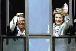 Reagans wave from hospital