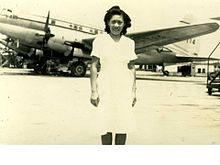Rebecca Chan Chung at Longhua Airport in front of a CNAC C-46.jpg