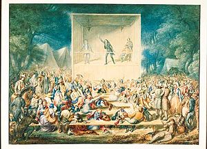 Camp meeting - A watercolor painting of a camp meeting circa 1839 (New Bedford Whaling Museum).