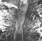 Rendu Glacier, tidewater glacier terminus, hanging glacier, and milk flour, September 17, 1966 (GLACIERS 5814).jpg