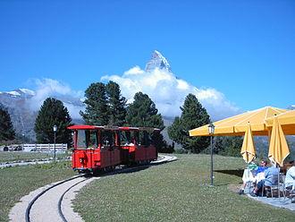 Riffelalp tram - The tram at Riffelhalp Resort station on the loop. In background is the Matterhorn