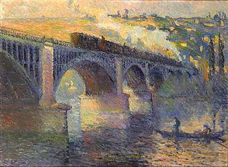Robert Antoine Pinchon - Robert Antoine Pinchon, Le Pont aux Anglais, soleil couchant, 1905, oil on canvas, 54 x 73 cm, Musée des Beaux-Arts de Rouen