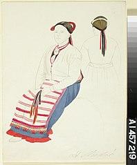 Istuva talonpoikaisnainen St Andresta sekä selkäharjoitelma samasta naisesta
