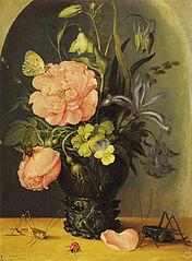 Flowers in a Glass in a Niche