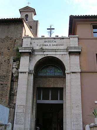 Santi Cosma e Damiano - The modern street entrance