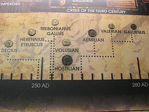Museum of World Treasures - A piece of the 50 ft. long Timeline featuring all the Roman Emperors and their coinage.